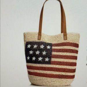 Style & Co Flag Straw Beach Bag